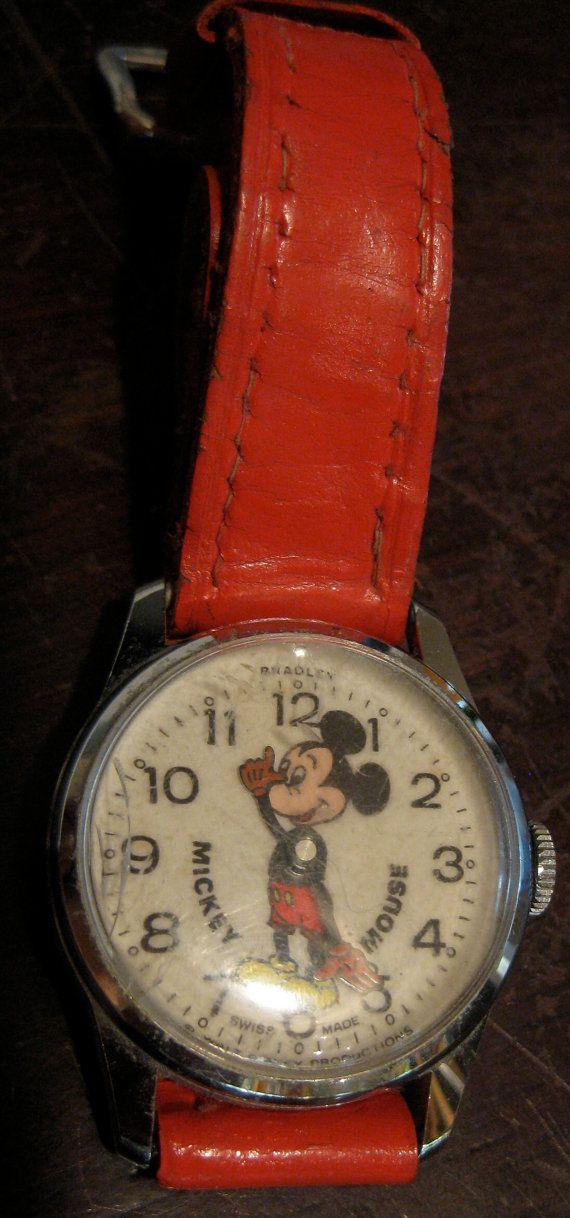 Fun Vintage BRADLEY Disney Mickey MOUSE Wristwatch Watch w Red Band