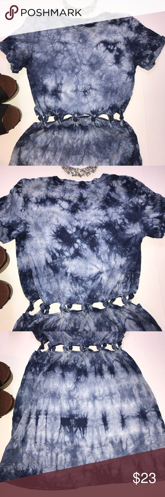 Blue Tie-Dye Knot Dress Blue tie-dye dress with cutout knotted middle. Only worn once. In great condition. Bundle up or feel free to leave an offer! American Eagle Outfitters Dresses Mini