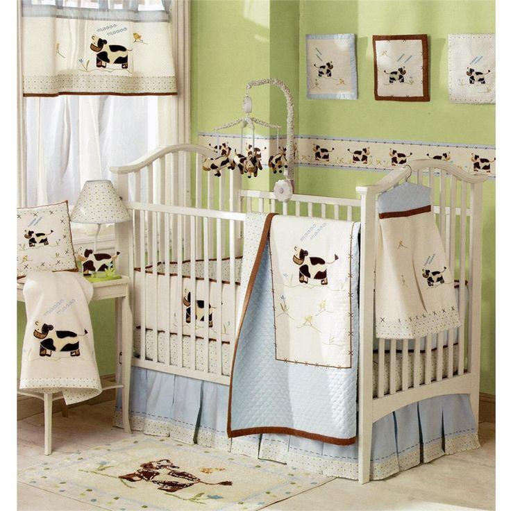 Crib bedding moo cow baby crib bedding set for Cow bedroom ideas