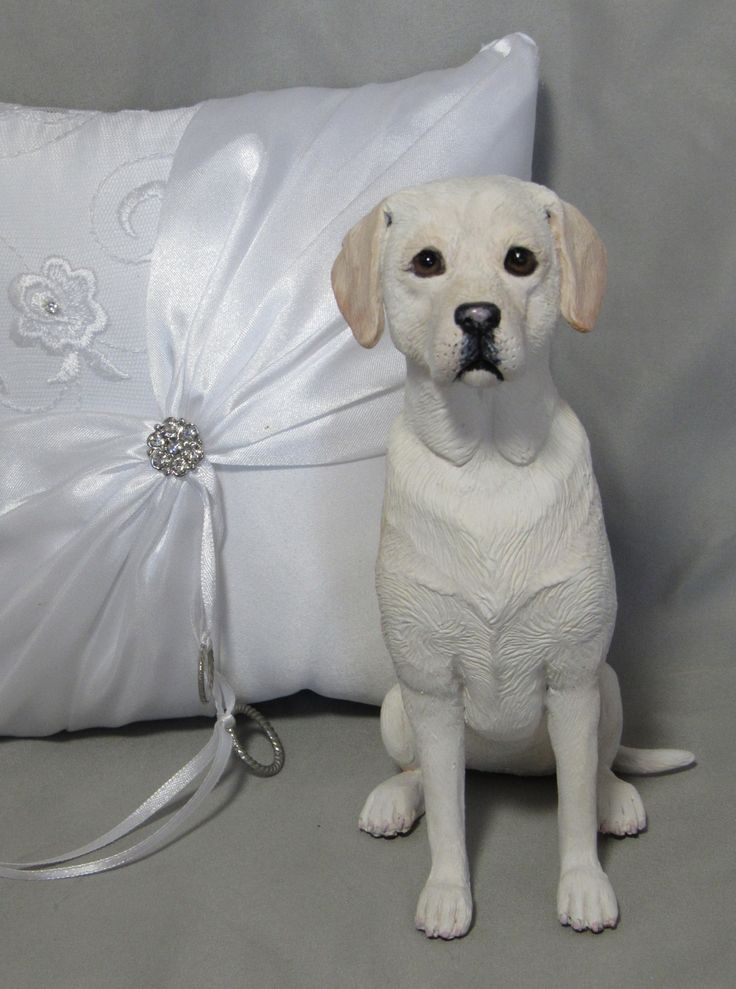 Yellow Labrador wedding cake topper!   Hand sculpted from polymer clay. Measures 7 inches tall.  www.laurievalko.com