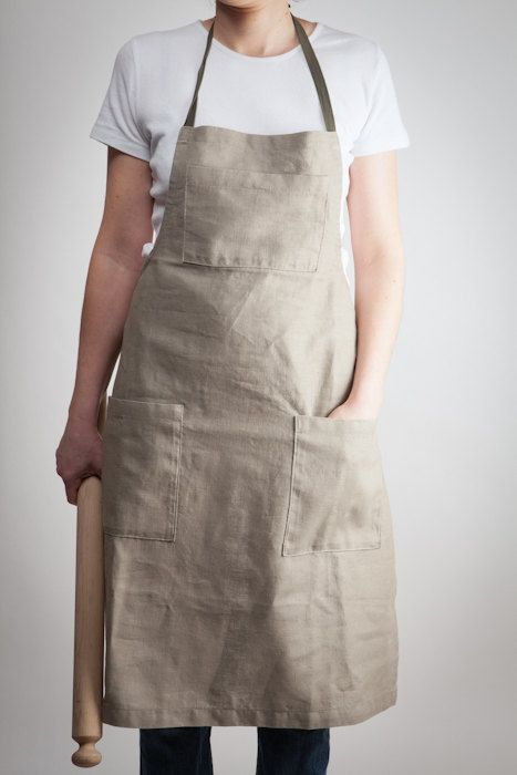 sandcolored linen apron with pockets  adjustable and by LeBlusine, $45.00