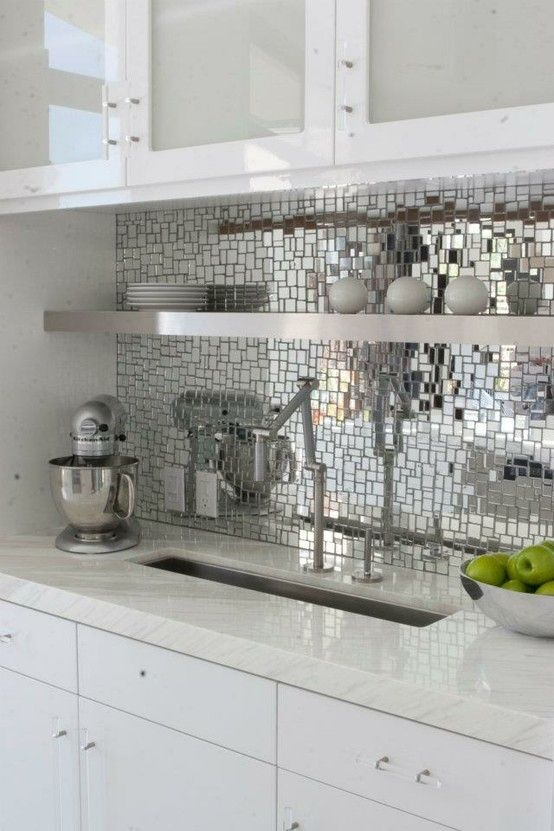 Mirror mosaic tile splash back, not sure about being in a kitchen, would prefer this is a bathroom - nice idea, especially if there is no window
