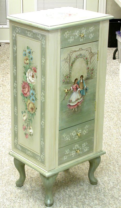 A lovely jewelery box more trunk like in style but delicate with pastels and mint colouring...