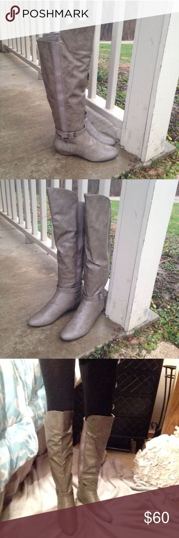 """NWT Gray Knee High Wedge Boots Size 8 So chic! Grayish green. Knee high. Wedge is 1/2"""". Regular width. Steve Madden Shoes Over the Knee Boots"""