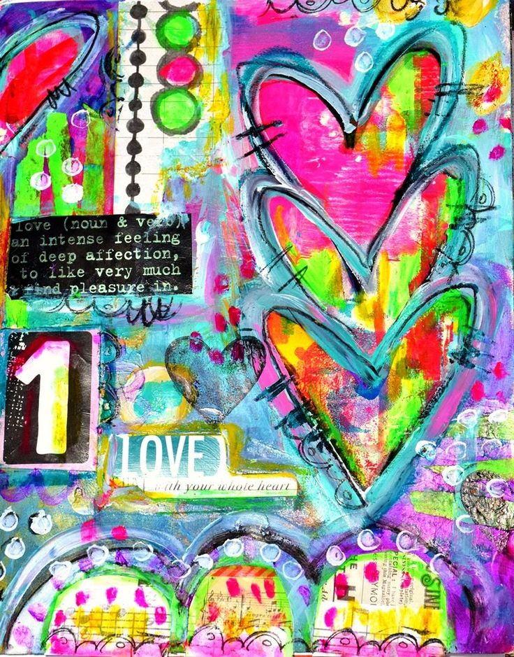 Art Journal Page with gelli plate print by TandiArt