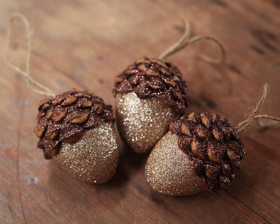 Acorn Ornaments Tarnished Shimmer Rustic by smilemercantile