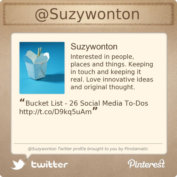 @Suzywonton's Twitter profile  Cool thoughts and ideas