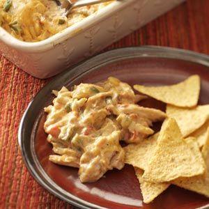 Warm Chicken Fiesta Dip Recipe from Taste of Home - This crowd-pleasing dip is always a success! —Shannon Arthur, Lucasville, Ohio