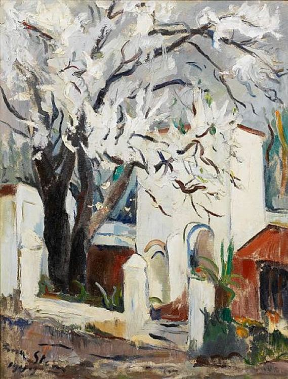 'Almond Tree' (1944) by South African artist Irma Stern (1894-1996). Oil on canvas, 33.5 x 26 in. via Mutual Art