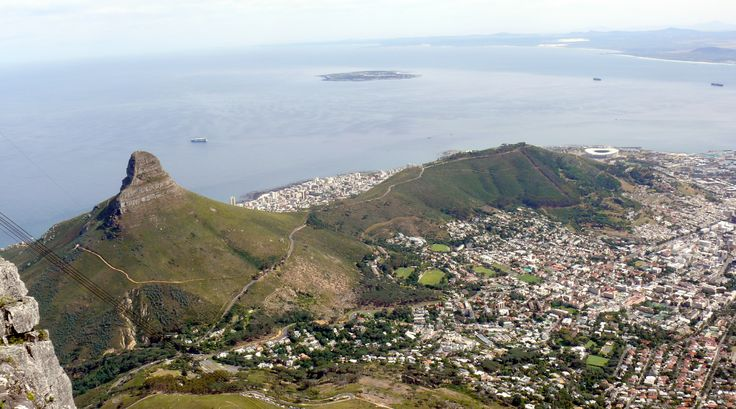 View of Lion's Head, Cape Town and Robben Island from the summit of Table Mountain