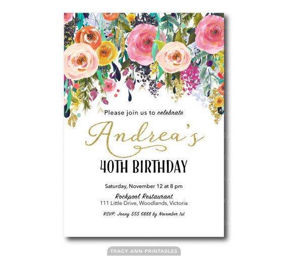 40th Birthday Invitation Floral Birthday by TracyAnnPrintables