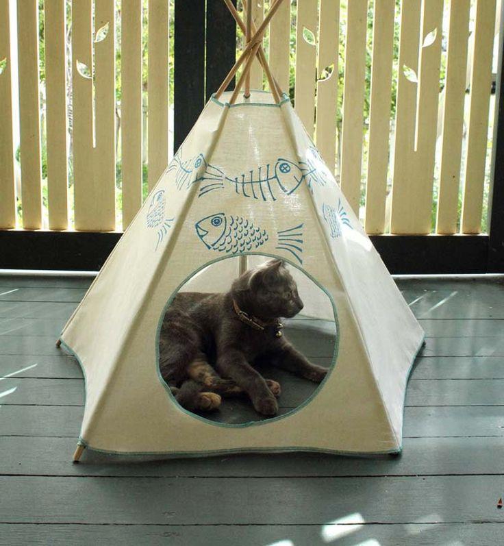 Cat Bed - Cat Teepee - Cat Tent - Sky Blue Kiteepee by Kiteepee on Etsy https://www.etsy.com/listing/187344543/cat-bed-cat-teepee-cat-tent-sky-blue
