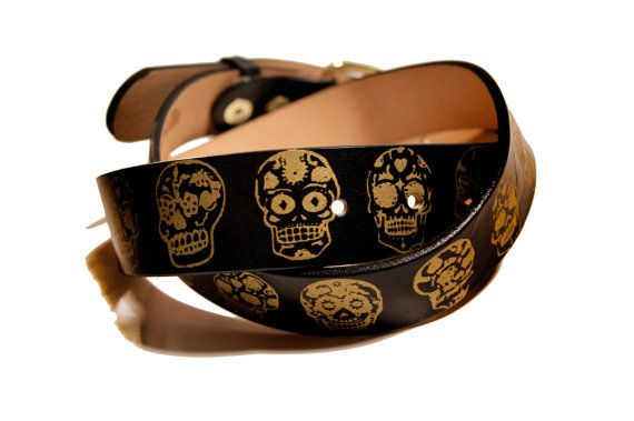 Sugar Skulls Day of the Dead Leather Belt by ProjectTransAction (Accessories, Belts & Suspenders, Belts, day of the dead, dios de los muertos, day of the dead belt, leather belt, mens belt, belt, womens belt, leather belts, custom belt, belts, printed leather belt, sugar skulls, mexico)