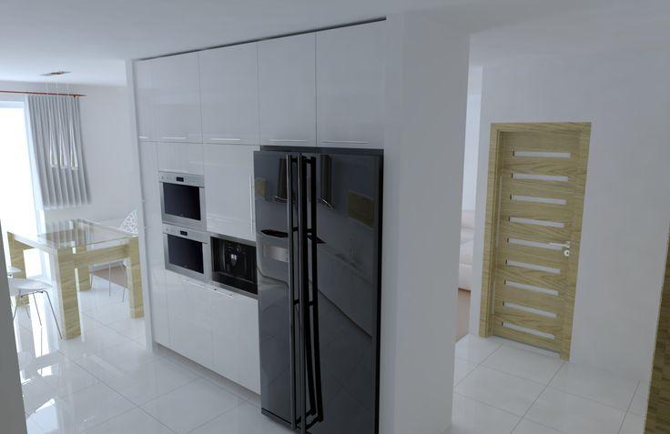 Black&white kitchen. Modern, minimalistic interior.
