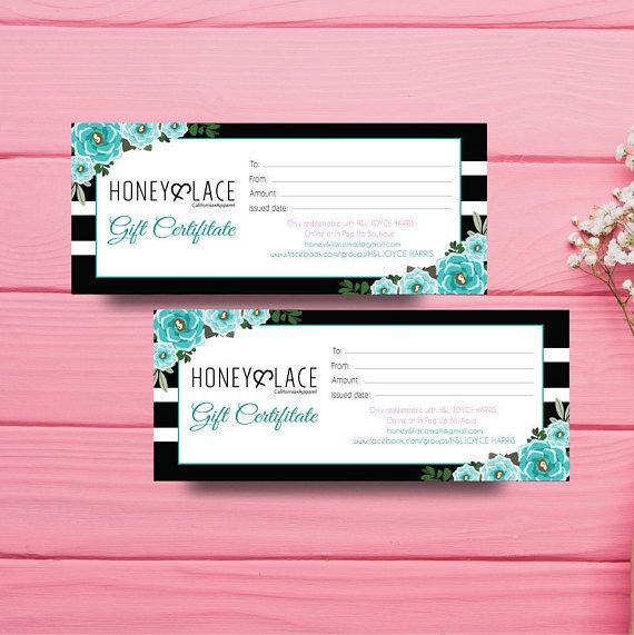 Honey and Lace Gift Certificate Gift Certificate Honey Money