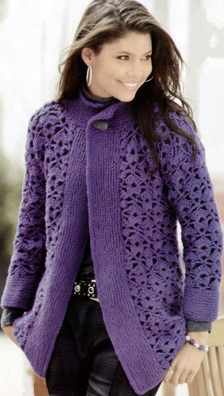 Purple Crochét long sweater pattern
