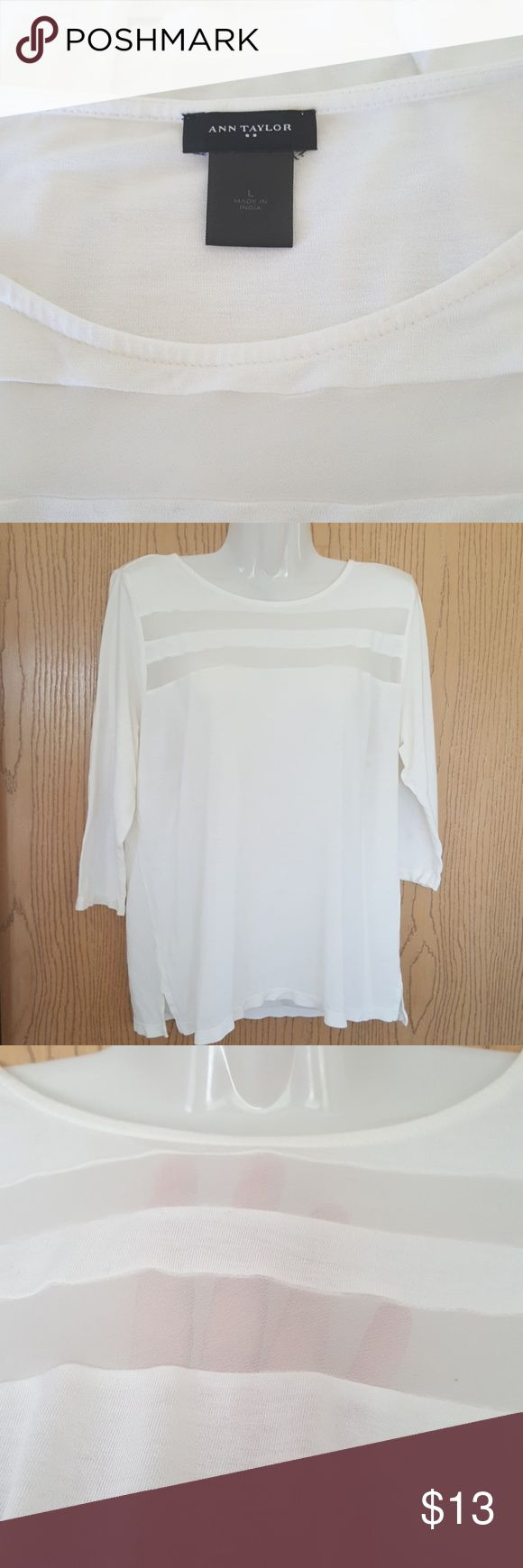"""💜 MONDAY SPECIAL 💜 Cute white Top with 2 sheer stripes. 3/4 sleeves  Length 24"""" Bust measures up too 36 Sleeves 16"""" Ann Taylor Tops Blouses"""