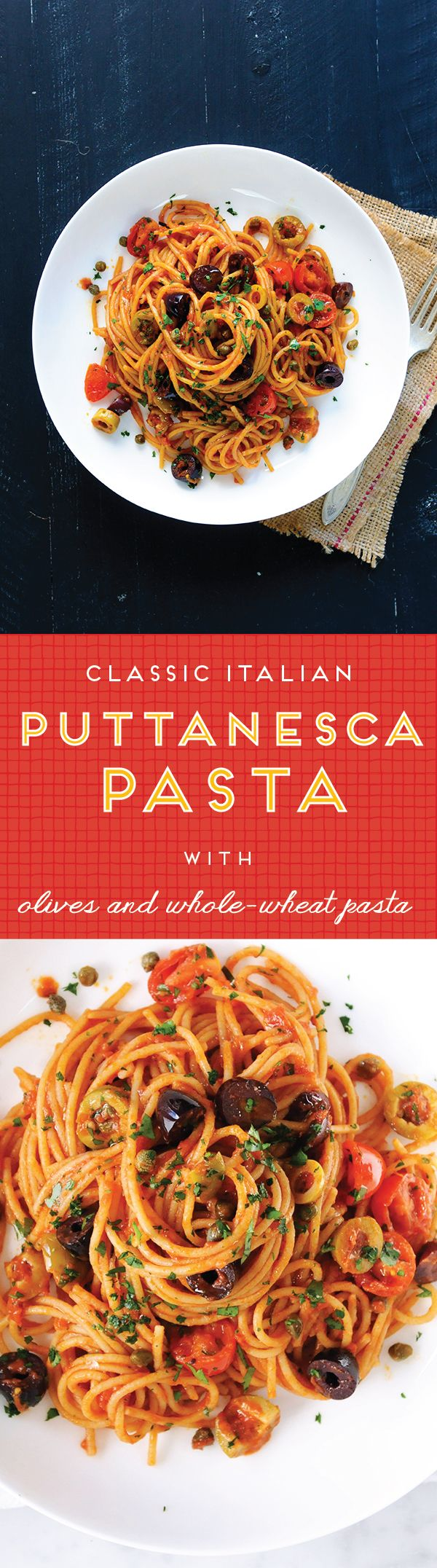 A classic! // Whole-Wheat Spaghetti with Puttanesca Sauce & Breadcrumbs