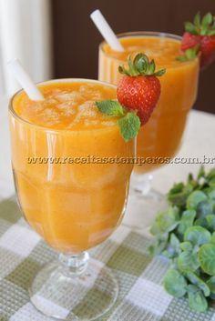 Suco de manga com morango   Receitas e Temperos