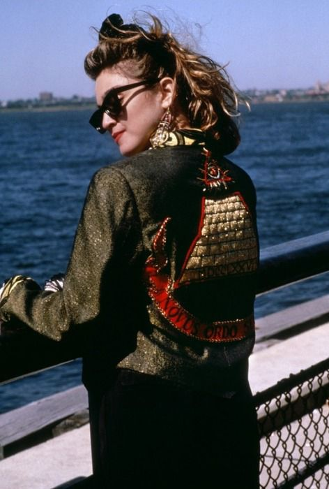 "Madonna in Desperately Seeking Susan in her iconic ""Gold Pyramid "" jacket"