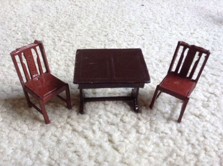 Rare Antique / Vintage Charbens Dolls House Furniture Table & 2 Chairs | eBay