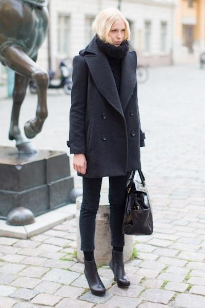 Emerson Major Pea Coat, Knit Gilet, Coal denims, Emerson Black Boot, Emerson Big Black Bag ? Fashion Style...