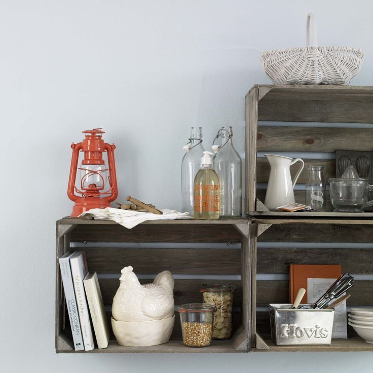CRATE SHELVES GOODHOMES MAGAZINE APRIL 2011  STYLING EMMA CLAYTON PHOTOGRAPHY OLIVER GORDON
