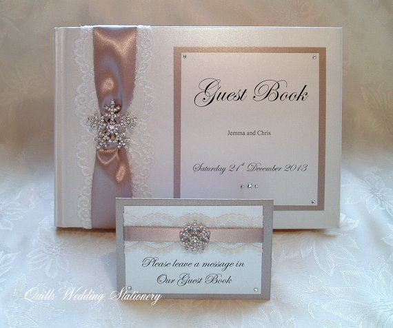 Luxury Personalised Wedding Guest Book. by QuillsWeddingFavours