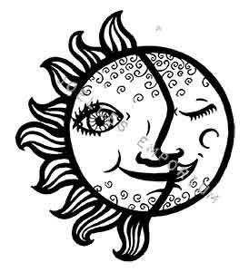 Sun Moon Temporary Tattoo Temporary Tattoo Art by JoellesEmporium