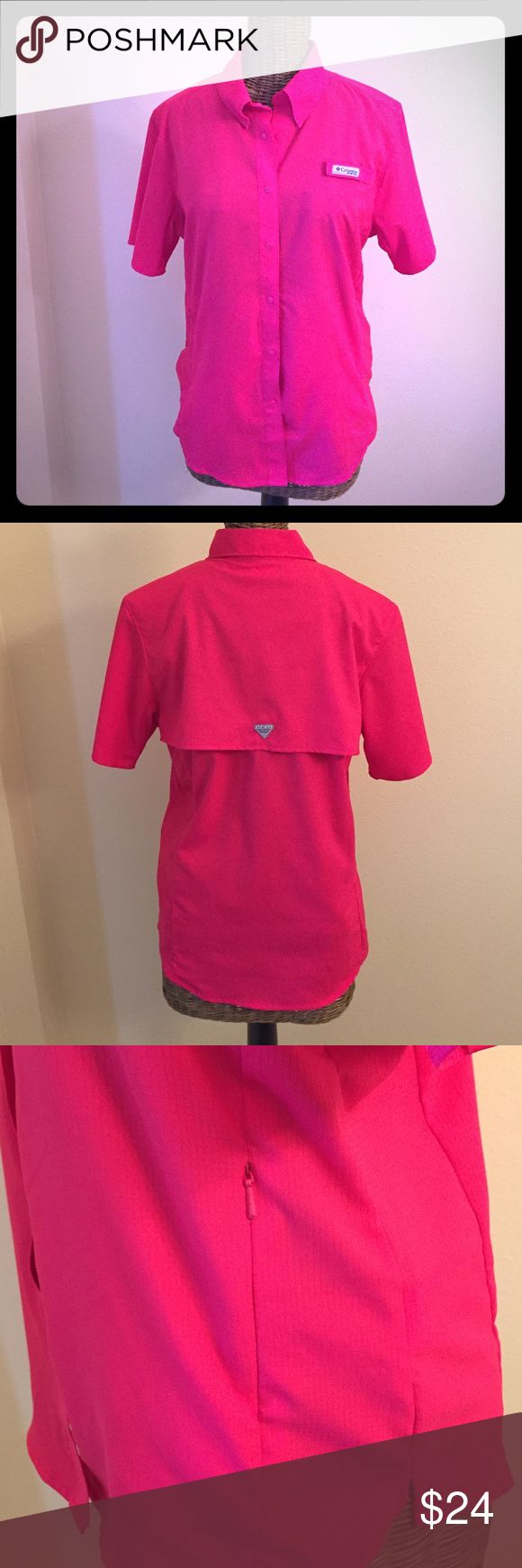 Columbia Sportswear PFG short sleeve shirt NWOT Columbia Sportswear PFG short sleeve shirt, NWOT, size small. Bright pink shirt features mesh lined ventilation at center back and Omni Shade UPF 40.  Snap buttons down front, side zip pockets, Velcro holding collar down. New without tags. Columbia Tops