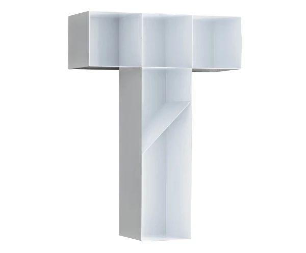 Настенные книжные полки 'T' - металл - белый - 46x63x18 см