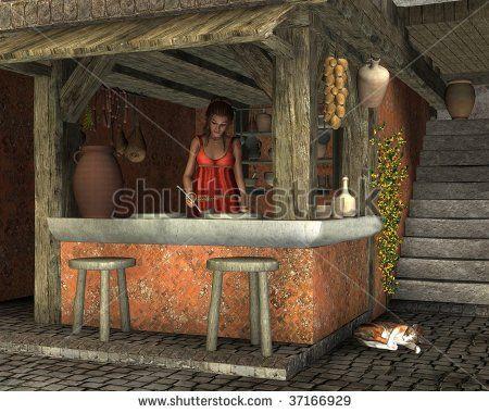 ancient roman tavern | Young Woman Preparing To Serve Food At An Ancient Roman Caupona (Cafe ...