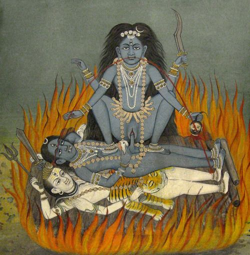 Nepalese depiction of the Hindu goddess #Kālī in sexual union with Bhairava, the wrathful form of Śiva, on a funeral pyre in the burning ground. In her hands she holds a Khadga (scimitar) and a human head; She is menstruating and two blood streams come out of her mouth. Bhairava holds a sword and a shell. Under the Wrathful is the white form of Śiva, with four arms and wearing a tiger skin, holding in his hands a Trishula and a Dhamaru drum.