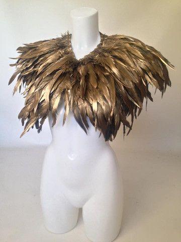 EPHESUS - Ombre Gold Feather Cape Shrug Collar