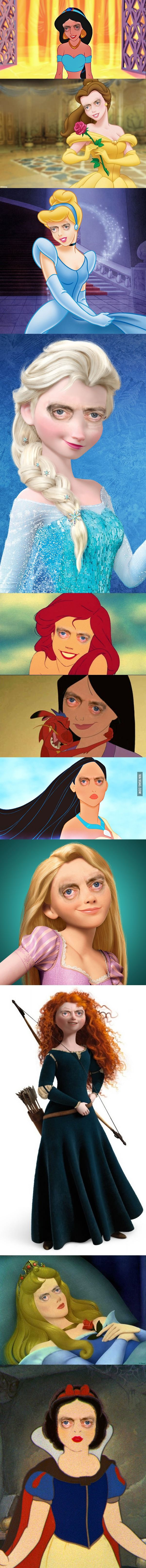 Disney princesses with Steve Buscemi's eyes.  What a difference the eyes make. Can't stop laughing. Hehehehehe.