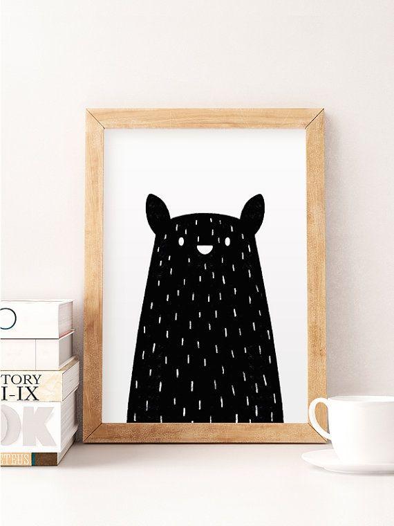 Black bear print, Minimal bear, Bear nursery art, Nursery minimal art, Black and…