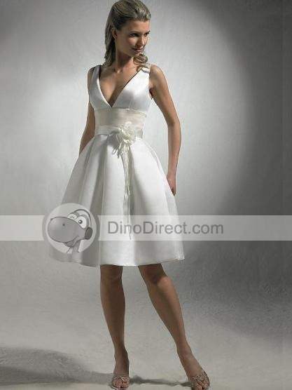Tote Ball Gown V Neck Knee Length Satin Informal Wedding Dress Gracious