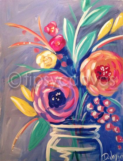 25 best ideas about flower canvas on pinterest flower for Floral painting ideas