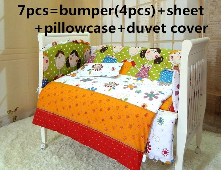 Promotion! 6/7PCS baby bedding sets baby crib set ropa de cuna Comforter cover cot quilt sheet bumper ,120*60/120*70cm