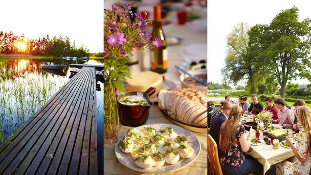 The ideal elements of a Midsummer festival include being with friends in a remote spot, singing, and eating and drinking a lot. Eggs with dill are a traditional Midsummer food. (Matt Munro)