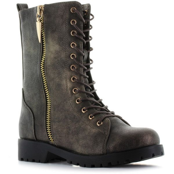 Seven7 Mr. Zipper Women's Combat Boots ($50) ❤ liked on Polyvore featuring shoes, boots, med brown, faux-fur boots, brown lace up boots, laced boots, zipper boots and lined boots