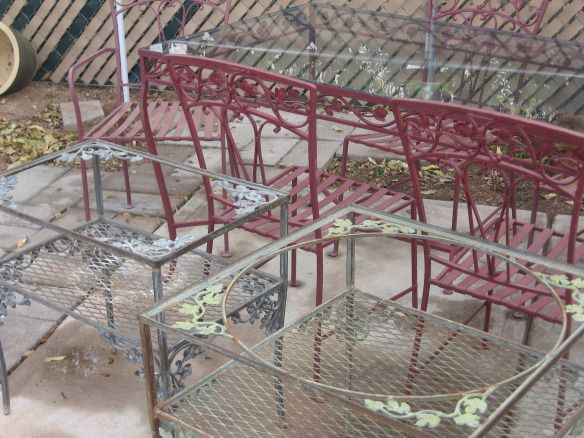 Vintage, Wrought Iron Patio/Garden Furniture Available For Sale