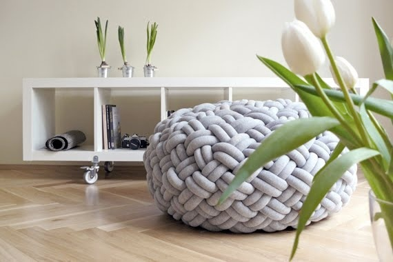 Knotted/woven jersey knit pouf interiors-diy.  (can't get link to work though)