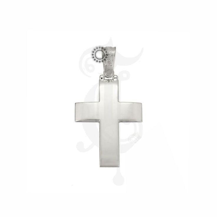 Σταυρός βάπτισης για αγόρι ΤΡΙΑΝΤΟΣ λευκόχρυσος Κ14 με ελαφρώς καμπυλωτή λουστρέ επιφάνεια | Κοσμηματοπωλείο ΤΣΑΛΔΑΡΗΣ στο Χαλάνδρι #βαπτιστικός #σταυρός #Τριάντος #αγόρι