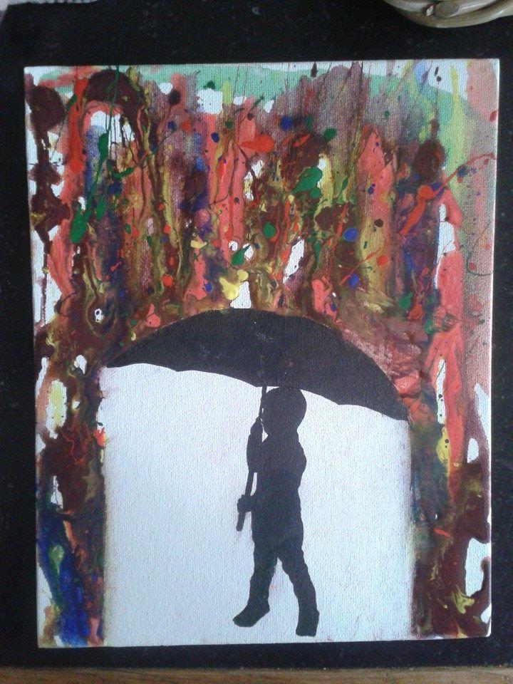 Paraplu schilderij met kleurige regen - zie de Activitheek van www.doenkids.nl