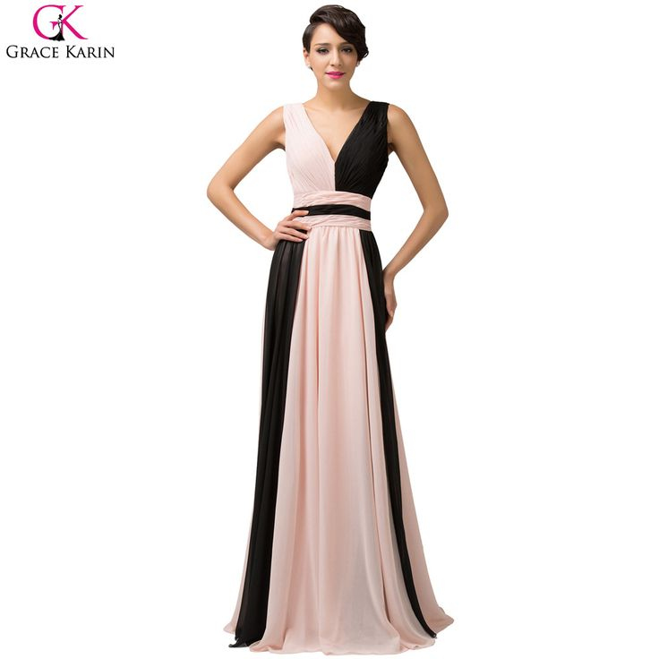 Long Evening Dress Grace Karin Chiffon Sleeveless V Neck Ombre Formal Gowns Splice Elegant Evening Party Special Occasion Dress
