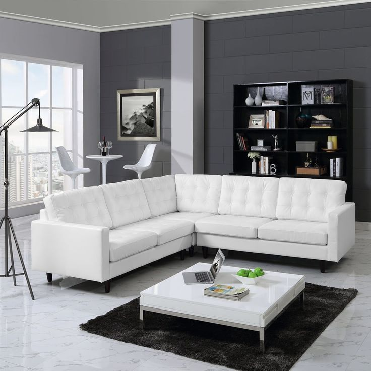 Modway Empress 3-Piece Leather Sectional Sofa Set