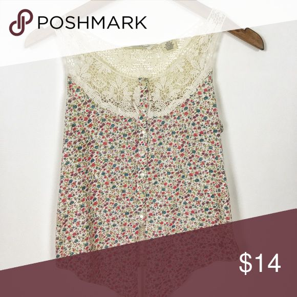 Ralph Lauren Demin & Supply Floral Tank Lace cute! So cute! XS Ralph Lauren floral tank. Beautiful lace detail & floral pattern. Bundle & Save! Buy any 3 items in my closet filled with Ralph Lauren, J. Crew, BR, Loft, Lucky Brand & Free People and save 15% :) Denim & Supply Ralph Lauren Tops Tank Tops