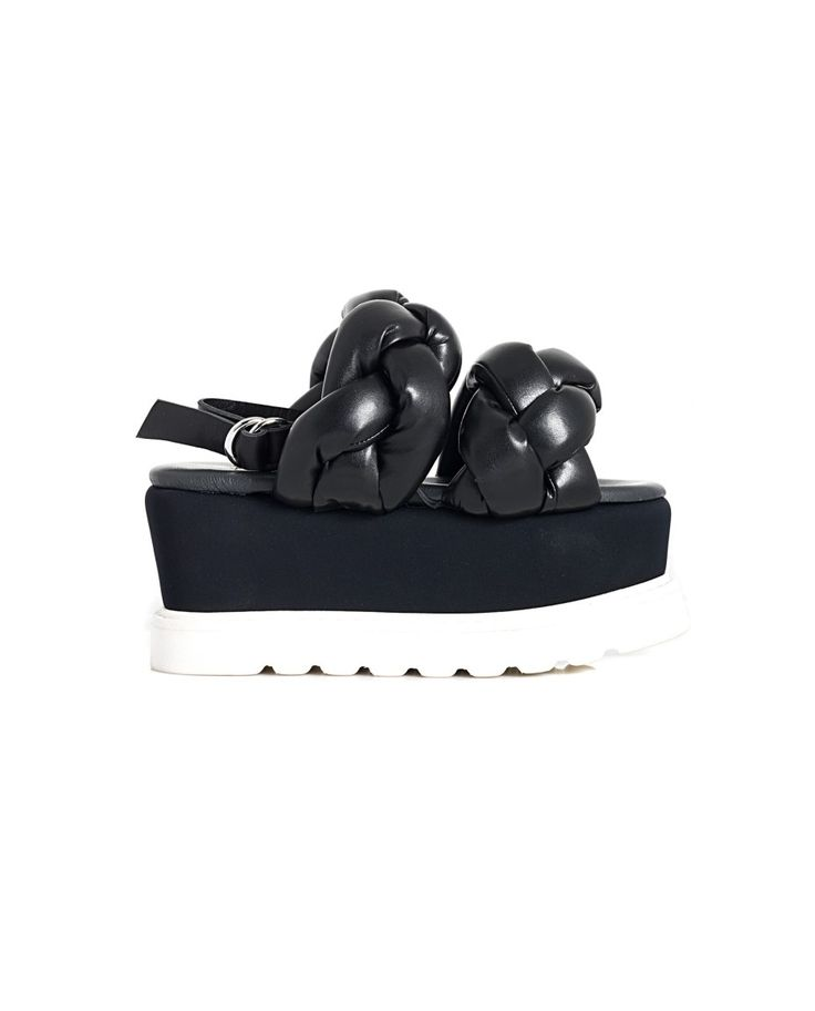 BRUNO BORDESE WEDGE SANDALS S/S 2016 Black leather  braided sandals side buckle closure rubber wedge: 8 cm