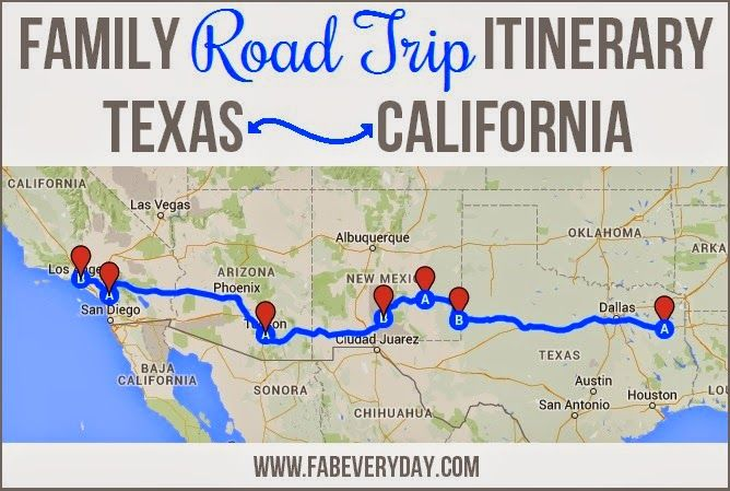 Family road trip from Texas to California and back.  Click here or visit fabeveryday.com for the full itinerary including kid-friendly stops and the good eats along the way, then don't forget to check out last week's post on tips for surviving a road trip with young children.